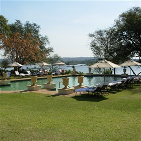 Enjoy views over the mighty Zambezi from the lovely pool.