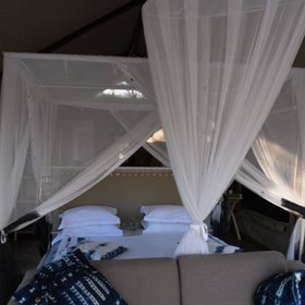 ...all equipped with double beds, mosquito netting...