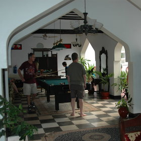 There is also a pool table and a table-football table to keep guests entertained.