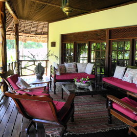 The veranda outside the main area is a great place to relax in the shade.