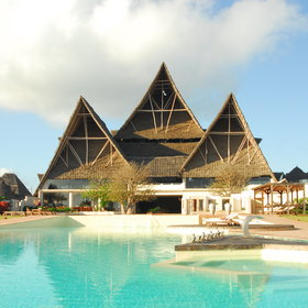 It has an enormous makuti thatch roof, reminiscent of the Sydney Opera House.