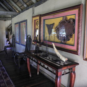 The interior of the lodge is decorated in an African style...