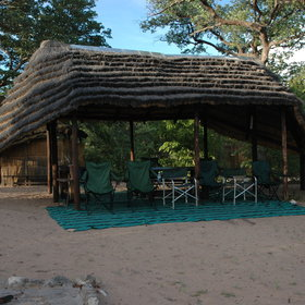 The camp is set on a hillside overlooking Nhoma Omarumba…