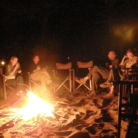 After dinner each night is a cosy gathering around the campfire...