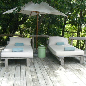 ...and relax on the sun loungers on its surrounding deck.