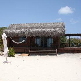 There are 13 thatched chalets...