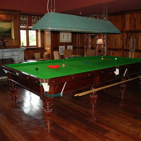 For a bit of fun, there's a great wood-panelled billiards room