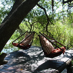 A little light reading in your hammock or swing gently to the rythm of the rushing water below...