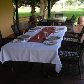 Meals can be enjoyed inside the dining room or outside on the veranda.