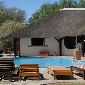 There are two swimming pools at Namib Desert Lodge: one fresh-water pool...