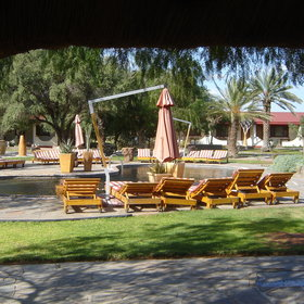 ...complete with parasols and sun loungers to relax.