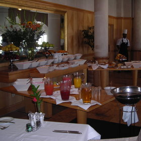 The breakfast buffet here is laden with fresh fruit as well as a hot breakfast to order.