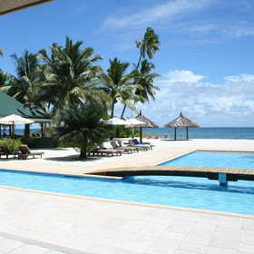 The lodge's main facilities are located around a T-shaped swimming pool...