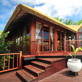 The 16 vast bungalows of Fregate Island Villas are set on the northern curve of the island...