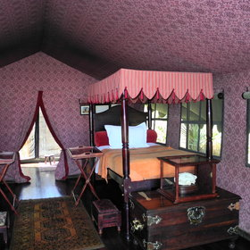 Inside, the tents are comfortably furnished....