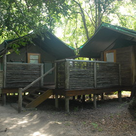 The camp offers eleven comfortable, meru-style tents...