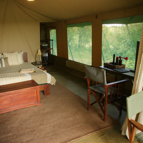 …with soft rugs and large, welcoming beds. Each tent has an alarm horn for emergencies