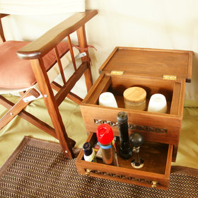 …and nifty chests-cum-tea-tables for essentials like insect spray and a torch.