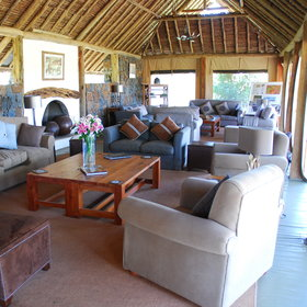 Naboisho's main lounge is a bright and spacious deck…