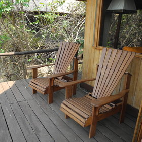 Outside is a private deck with views over the plain.