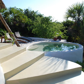 These plunge pools are deisgned to be in the sun and shade at different times of the day.