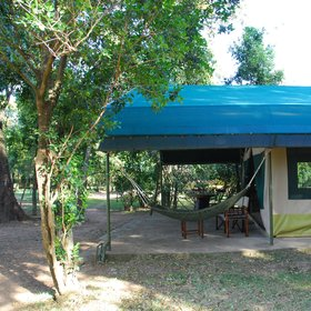 Each tent has a hammock over the veranda…