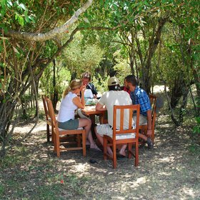 …and pleasant dining spots under the trees.
