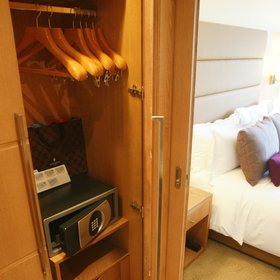 All rooms have plenty of hanging space and good-sized digital safes.