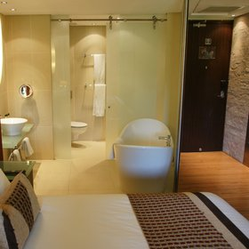 This approach naturally extends to the bathrooms, with their 'on-display' bathing arrangements.