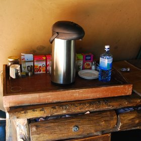 The whole set-up is quite rustic, but tea and coffee are always available in the dining tent.