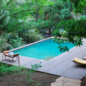The stand-out feature of the camp is the pool. It is surrounded by timber decking ...