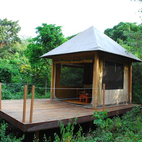 Close to your private tent, there is a small screened gazebo that contains a table and chairs.