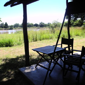 Six of the luxury tents line the river and one overlooks a lagoon.