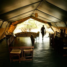 Just metres away, there's a large dining and lounge tent, often used for dinner.
