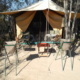 ...and a sandy clearing with camp chairs to relax and enjoy the views.