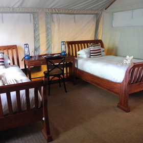 Linyanti Ebony has a family tent with double room and separate twin room.