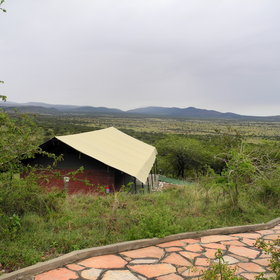 It's a luxury tented lodge with fantastic views over the plains...
