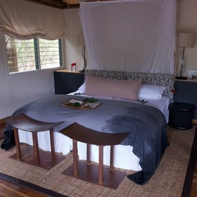 Savute Safari Lodge has 12 thatched chalets.