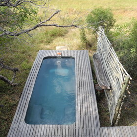 The lower deck of each safari suite has a private plunge pool.