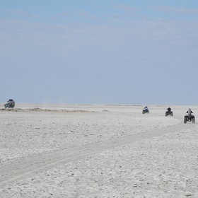 ...and in the dry season (May-Oct) quadbiking excursions across the salt pans.