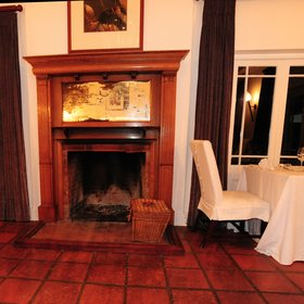 …which features a fireplace,…