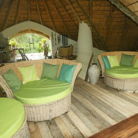 Tucked up in the thatch, is a shop as well as a further seating area with lovely views.