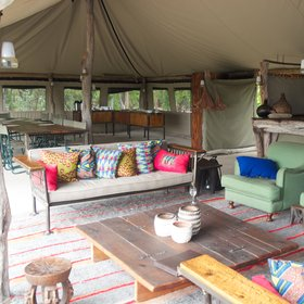 …which hosts the camp's simple but comfortable main areas.