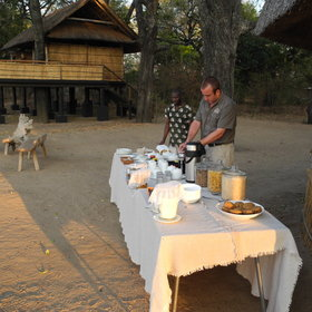 Breakfast is served as a buffet, and usually eaten around the campfire…