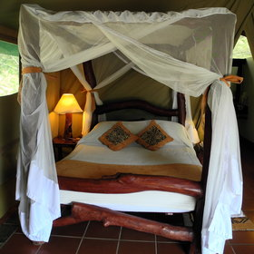 Comfort is the key word at Mbuze Mawe - with good linens and mosquito nets on all the beds.
