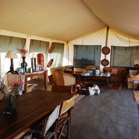The camp's central areas consist of a large lounge and dining tent...