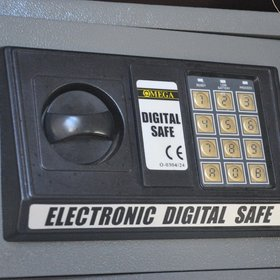 ...as well as a small electronic safe for storing valuables.