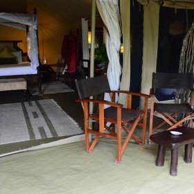 The tents at Ngenche are large, each with a private veranda...