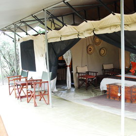 Outside, each tent also has a veranda - a pleasant place to sit and birdwatch.