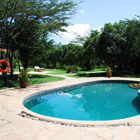 The pool, quite close to the dining and lounge area, is a welcome spot to cool off on a hot day.